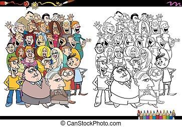 coloritura, pagina, folla, persone