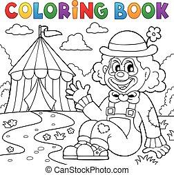 coloritura, pagliaccio circo, tema, 2, libro