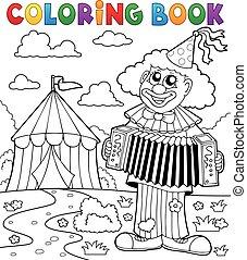 coloritura, pagliaccio circo, tema, libro, 4