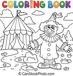 coloritura, pagliaccio circo, tema, libro, 6