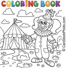 coloritura, pagliaccio circo, tema, libro, 7
