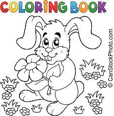 coloritura, pasqua, libro, coniglio