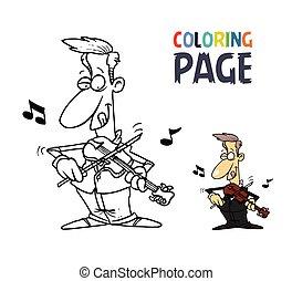 coloritura, persone, violino esegue, cartone animato, pagina