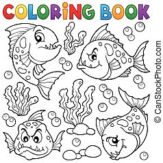 coloritura, piranha, 1, tema, libro, pesci