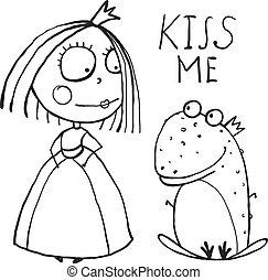 coloritura, rana, principessa, chiedere, bacio, bambino, pagina