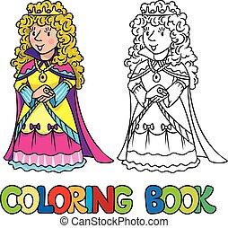 coloritura, regina bellezza, o, libro, principessa fata