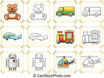 coloritura, sagoma, per, differente, giocattoli