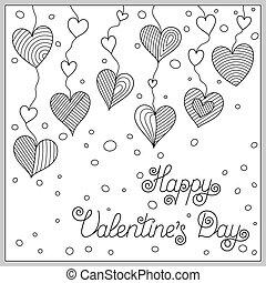 coloritura, scarabocchiare, libro, hearts., disegno, pagina