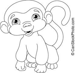 coloritura, scimmia, pagina