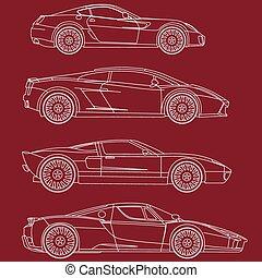 coloritura, set, automobili, vettore, serie, sport