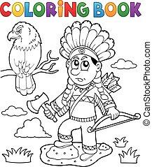 coloritura, tema, indiano, libro