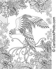 coloritura, uccello, pagina