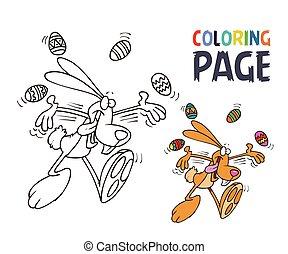 coloritura, uovo, pagina, coniglio, cartone animato