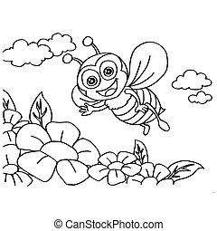 coloritura, vettore, pagine, ape