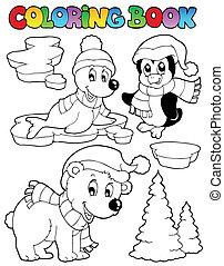 coloritura, wintertime, 2, animali, libro
