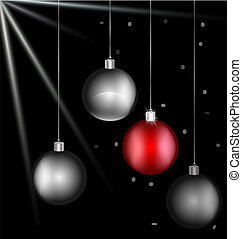 on black background there are black-white and red Christmas balls