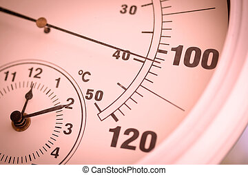 Colorized Round Outdoor Thermometer Showing Over 100 Degrees.