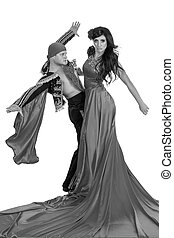colorless portrait of Gypsy flamenco dancer couple