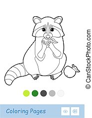 Colorless vector contour image of a raccoon eating an apple isolated on white background and palette below.