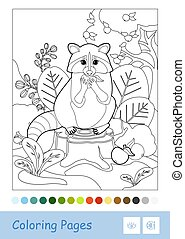 Colorless vector contour image of a raccoon sitting on a stump and eating an apple isolated on white background. Wild animals preschool kids coloring book illustrations and developmental activity.