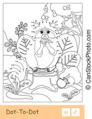 Colorless vector dot-to-dot raccoon eating an apple in a wood isolated on white background. Wild animals preschool kids coloring book illustrations and developmental activity.