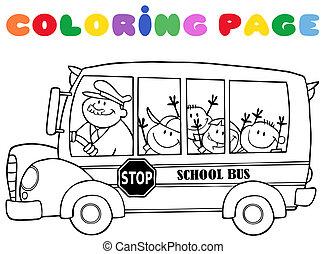 colornig, 学校, ページ, バス