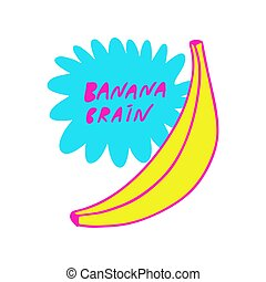Colors banana emblem isolated on a white background in the Doodle style.