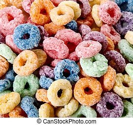 Orange, yellow, blue, and green fruit cereal