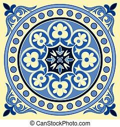 colors., mão, desenho, padrão, azulejo, majolica, azul, amarela, style., italiano