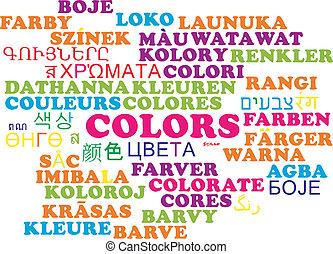 Colors multilanguage wordcloud background concept