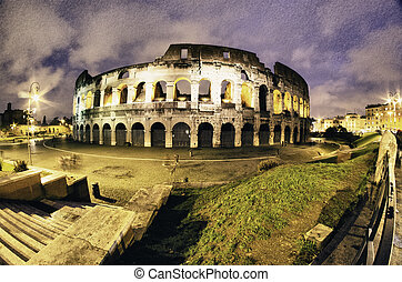Colors of Colosseum at Night in Rome