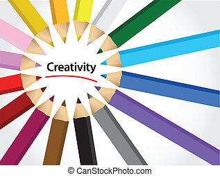 colors of creativity illustration design over a white...