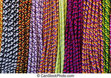Colors of friendship bracelets.