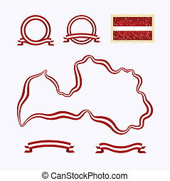 Colors of Latvia - Outline map of Latvia. Border is marked...