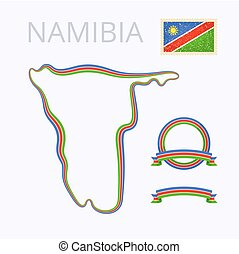 Outline map of Namibia. Border is marked with ribbon in national colors. The package contains frames in national colors and stamp with flag.