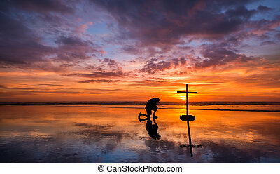 Colors of Prayer - Wonderful reflection on a beach at...