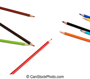colors pencil in series on white background with drop shadow