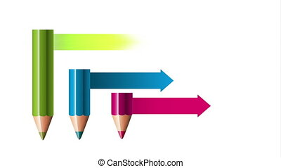 colors pencil with statistics arrows animation - colors...