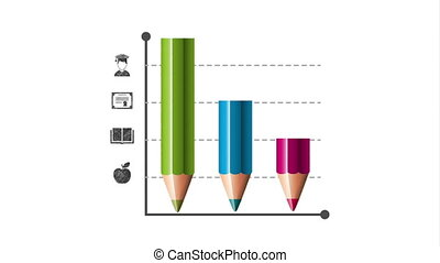 colors pencil with statistics infographic animation - colors...