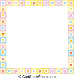colors., quadrato, pastello, mano, bordo, cuori, fatto, disegnato, amore, carino