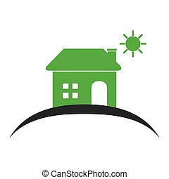 colors silhouette of house with the sun on the heaven