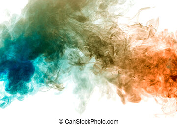 colors:, vape, sinaasappel, dik, elektronisch, doorschijnend, blauwe , verdeeld, cigarette., twee, rook, wit uit, verlicht, t-shirt, paar, brandwonden, exhaled, print., licht, tegen, achtergrond