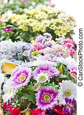 colorsful of vareity plastic flowers.