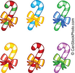 Coloruful candy canes with ribbon - Set of coloruful candy ...