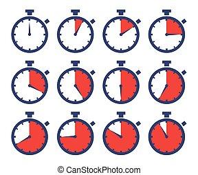 colos, desporto, cronômetros, tempo, sequência