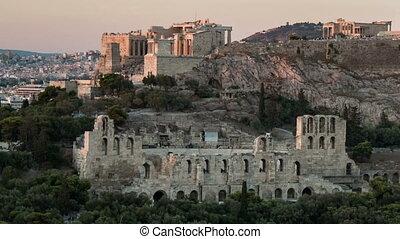 colossal, été, acropole, time-worn, athènes, coup, colonnes...