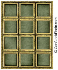 Colossal golden frame isolated on pure white background