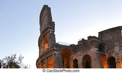 Colosseo at dawn. Rome, Italy. UltraHD (4K)