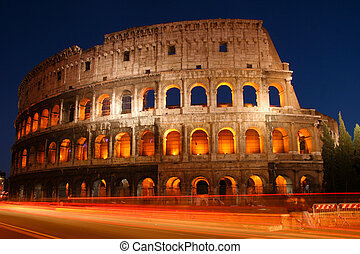 Colosseo - Night shot of the Coliseum in Rome, Italy,...