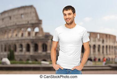 colosseo, sopra, t-shirt, vuoto, bianco, uomo, felice